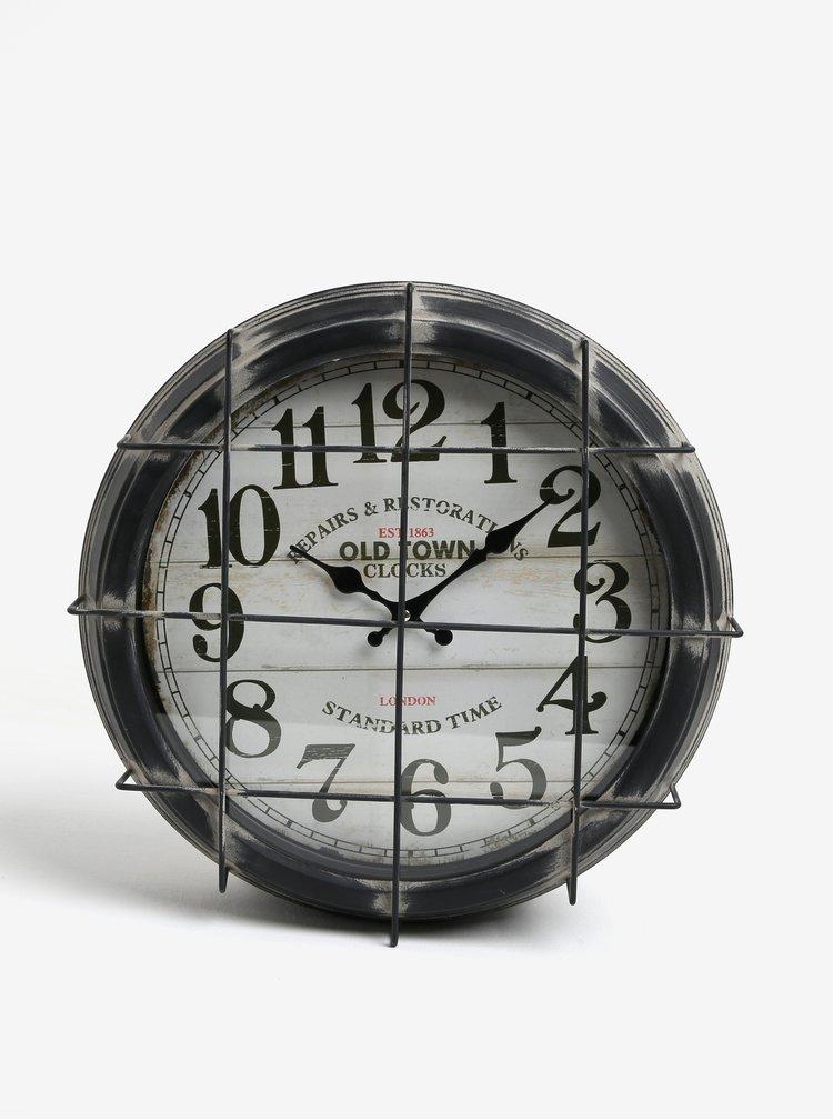 Tmavosivé kovové nástenné hodiny Kaemingk