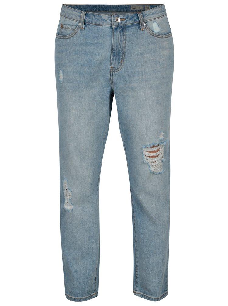 Světle modré zkrácené straight džíny s potrhaným efektem VERO MODA Anna