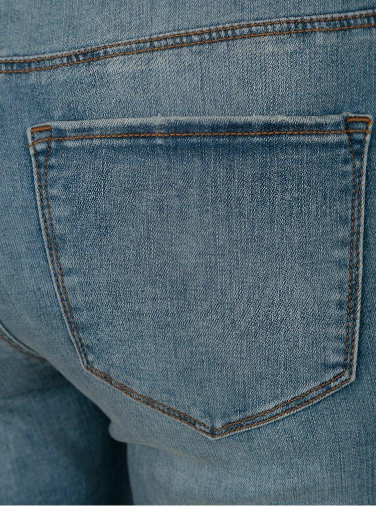 Modré zkrácené slim džíny s vyšisovaným efektem VERO MODA Seven