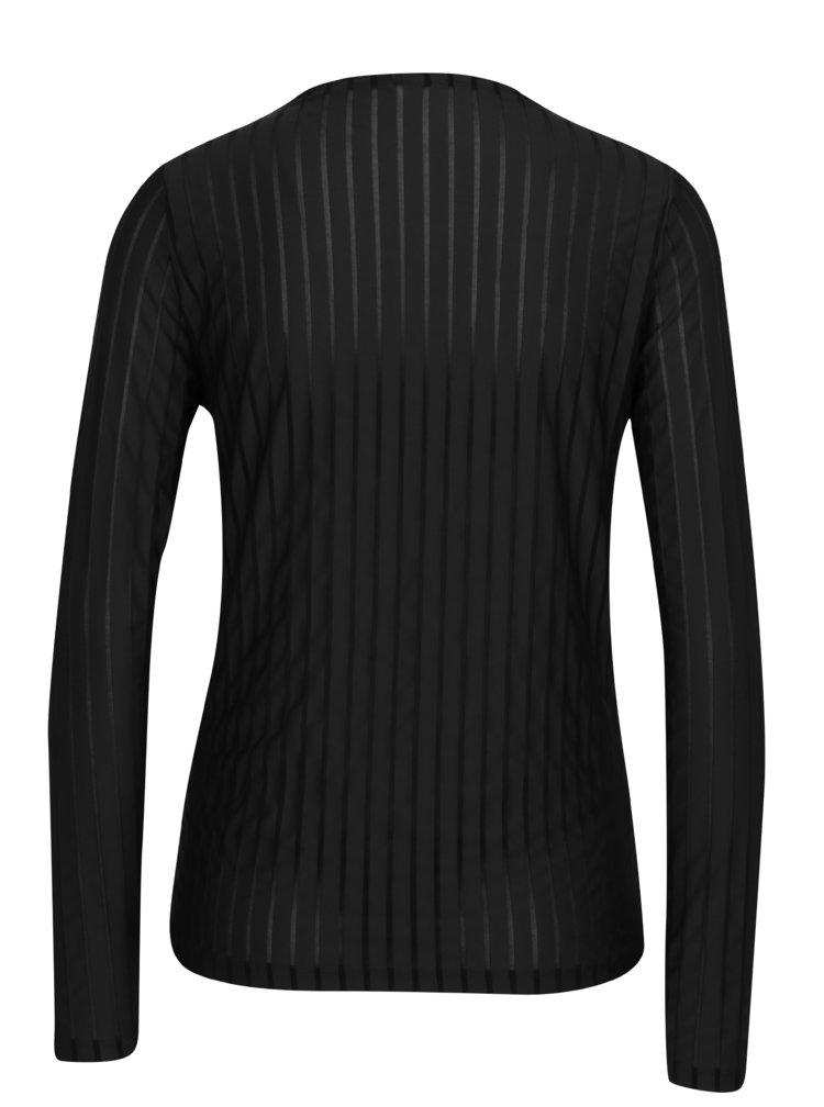 Černé tričko s průsvitnými pruhy VERO MODA Ann