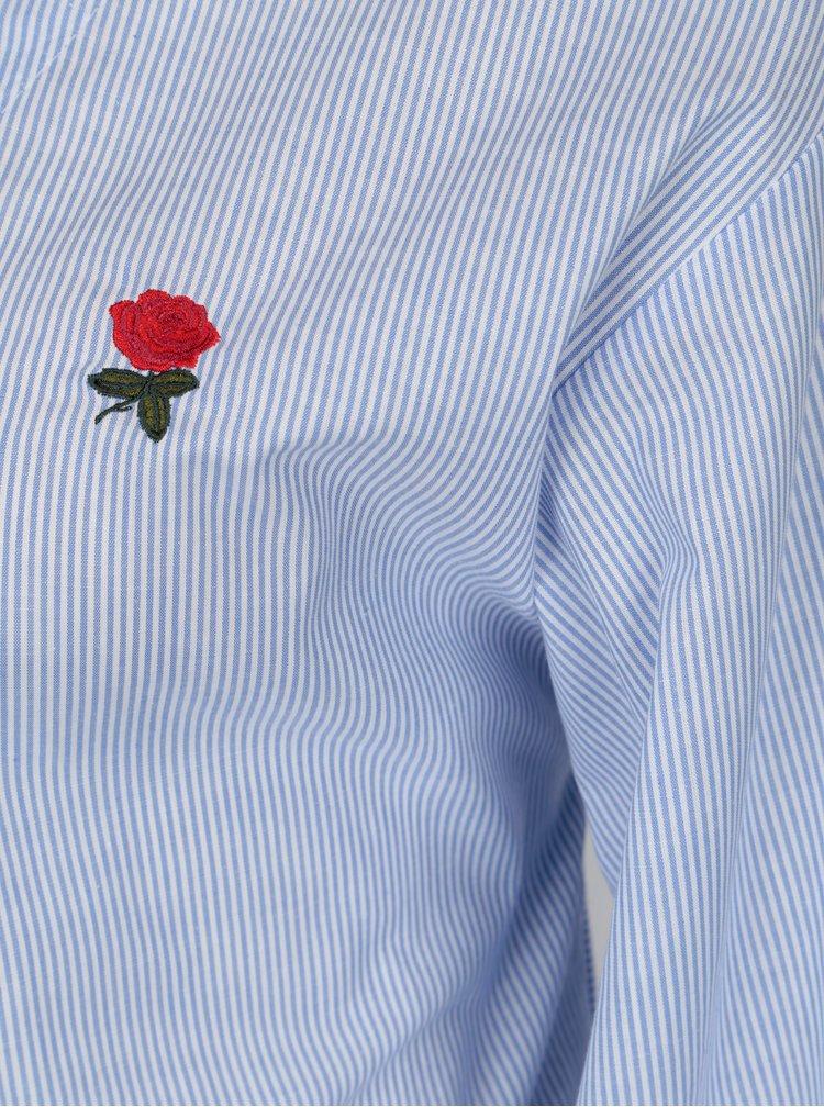 Bílo-modrá pruhovaná halenka se zavazováním VERO MODA Multi Rosa