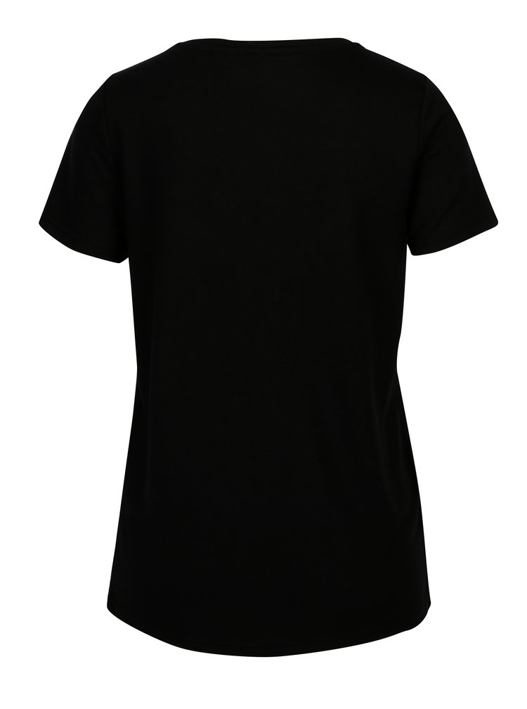 Černé tričko s výšivkami volavky VERO MODA Justine