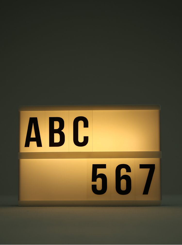 Čierno-biela svietiaca LED tabuľa s písmenami Kaemingk