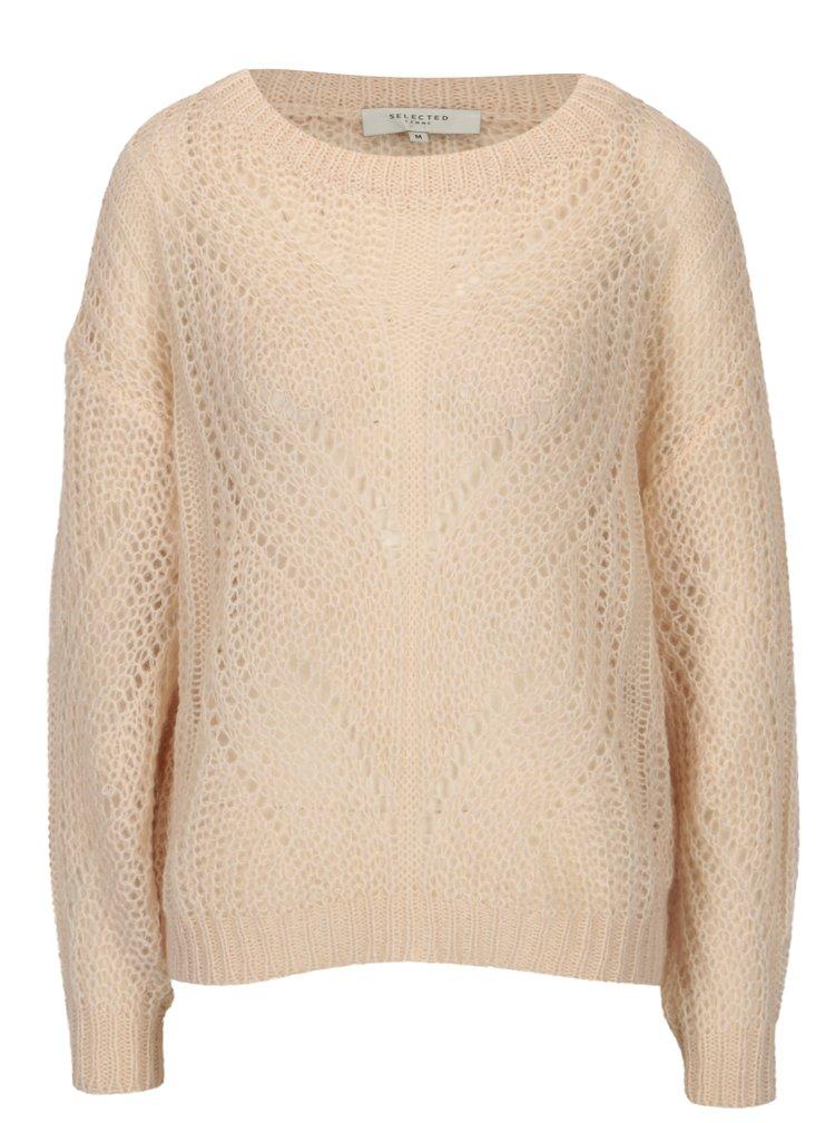 Svetloružový sveter Selected Femme Flore