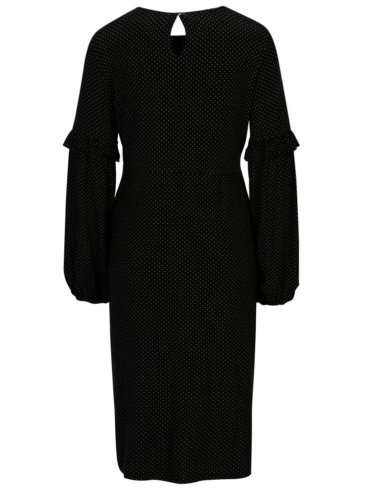 Černé puntíkované těhotenské šaty s potiskem Dorothy Perkins Maternity