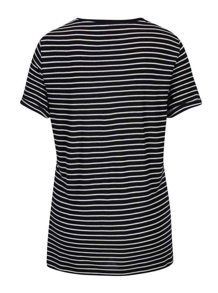 Krémovo-modré pruhované tričko s nášivkou Dorothy Perkins