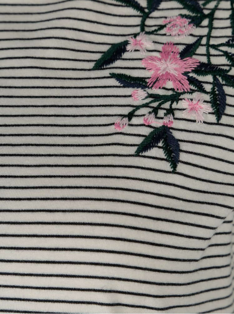Tricou cu dungi si broderie florala Dorothy Perkins