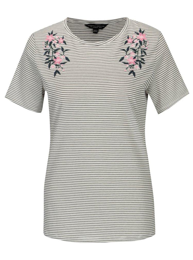 Krémové pruhované tričko s výšivkou Dorothy Perkins
