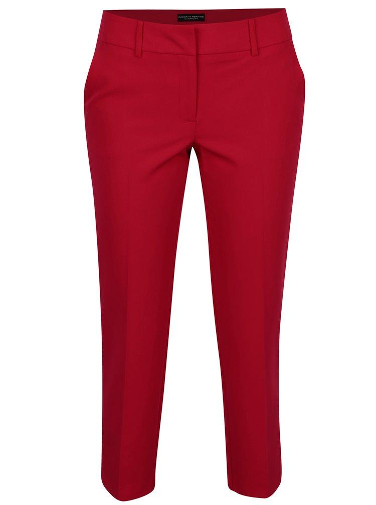 Červené zkrácené kalhoty s rozparky Dorothy Perkins
