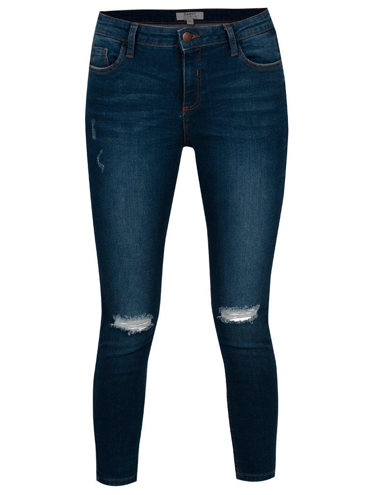 Tmavě modré skinny džíny s potrhaným efektem Dorothy Perkins