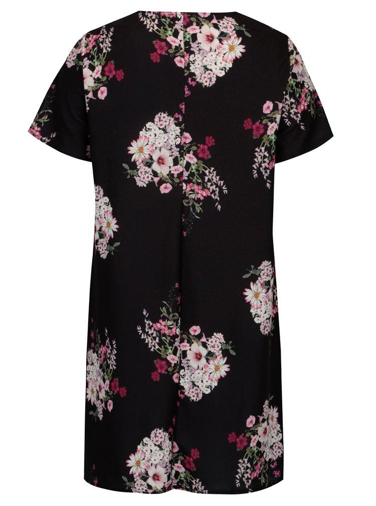 Rochie neagra cu print floral si maneci scurte - Dorothy Perkins Curve