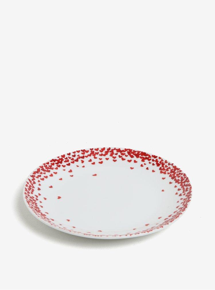 Krémový porcelánový talíř s motivem srdcí Kaemingk