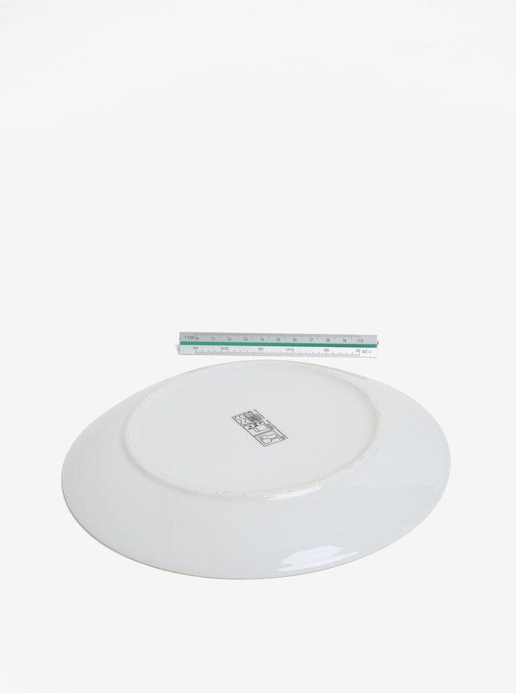 Krémový porcelánový puntíkovaný talíř s motivem srdce Kaemingk
