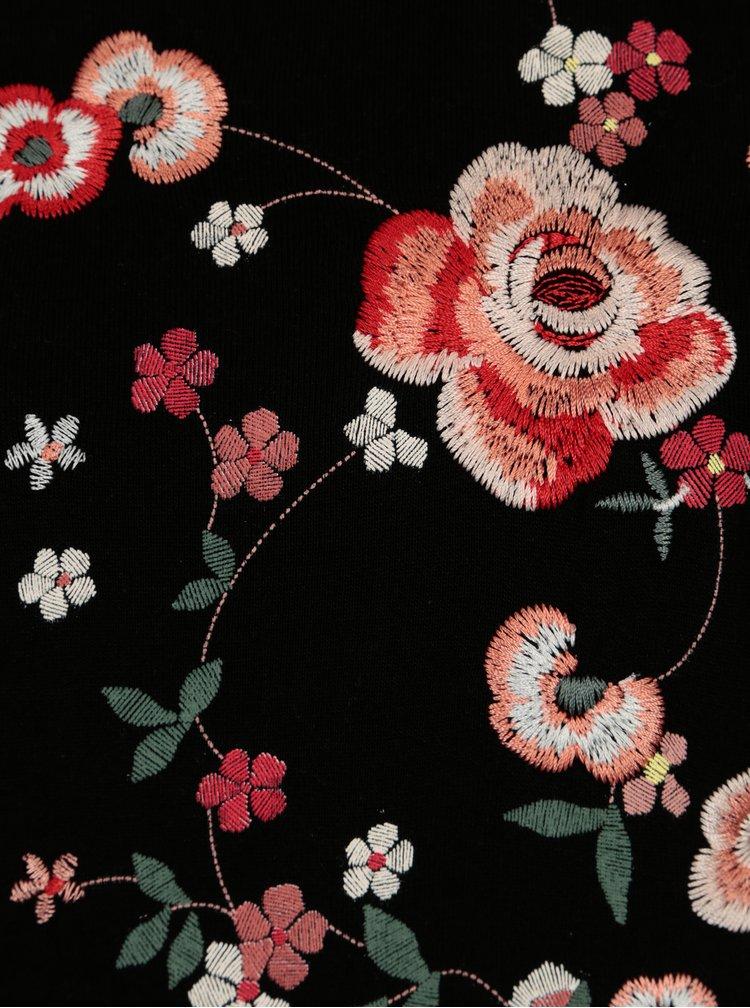Černá mikina s květovanou výšivkou Dorothy Perkins