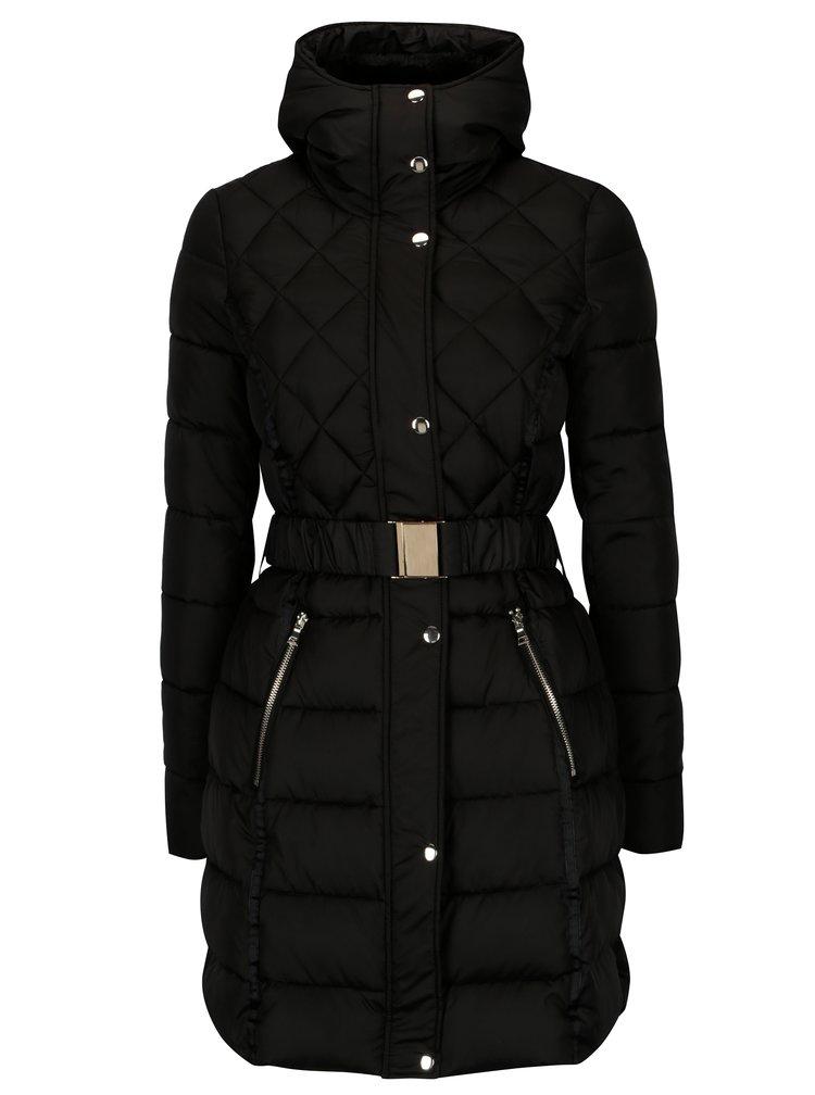 Černá prošívaná bunda s kožíškem Dorothy Perkins