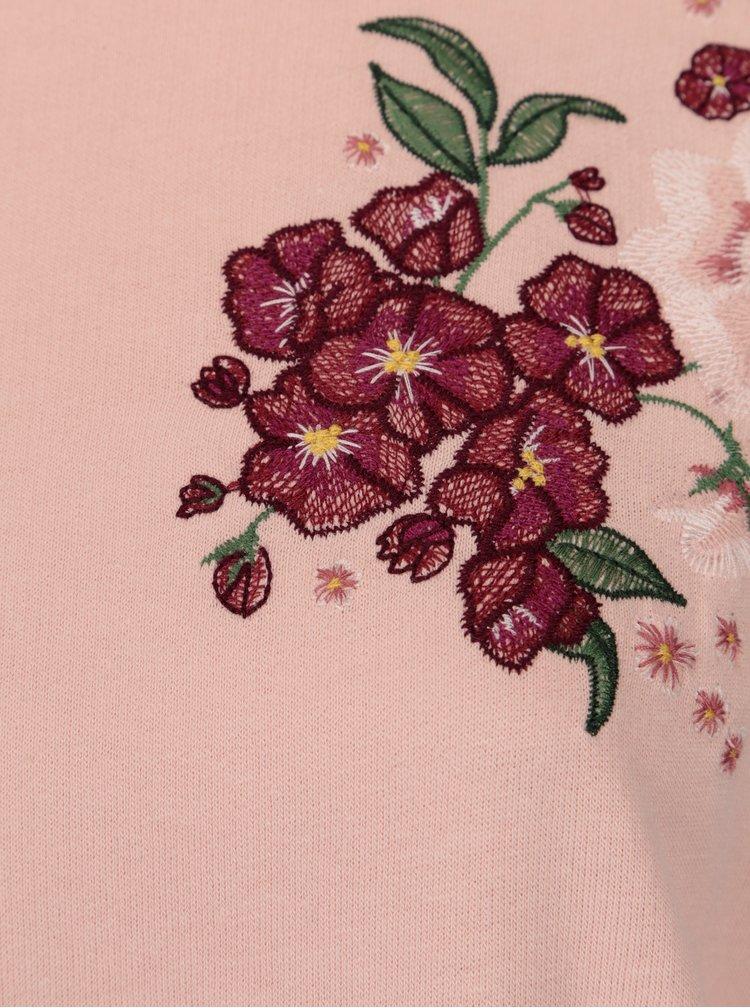 Ružová mikina s kvetovanou výšivkou Dorothy Perkins Curve