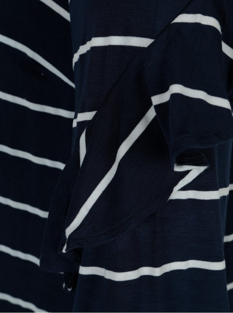 Tmavě modrá pruhovaná halenka s volány na rukávech Dorothy Perkins Curve
