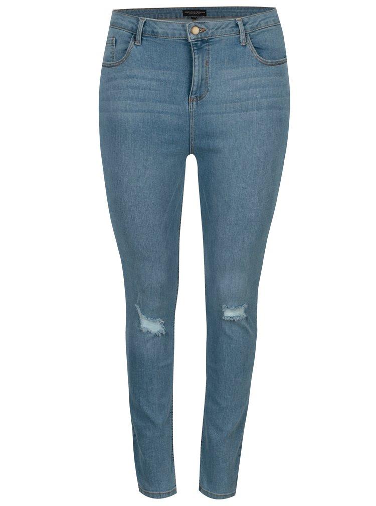 Světle modré džíny s potrhaným efektem Dorothy Perkins Curve