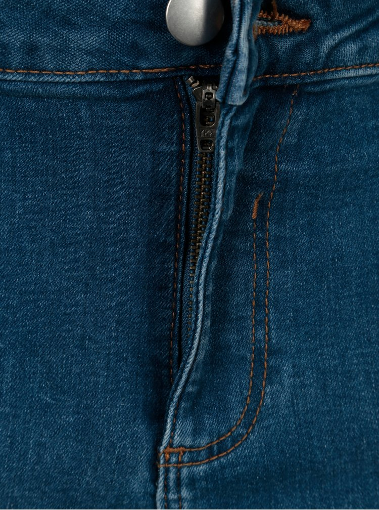 Modré skinny džíny s vyšívanými květy Dorothy Perkins Curve