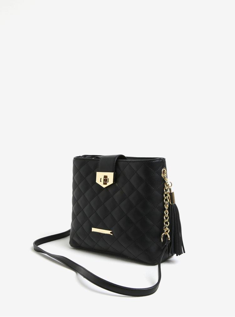 Černá prošívaná crossbody kabelka s detaily ve zlaté barvě Gionni Trina