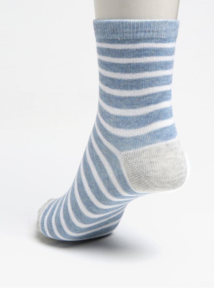 Sada tří párů klučičích pruhovaných ponožek v šedo-modré barvě 5.10.15.