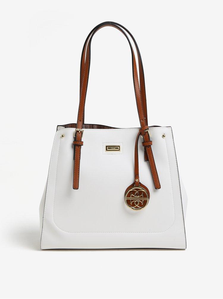 Hnědo-bílá koženková kabelka Gionni Alma