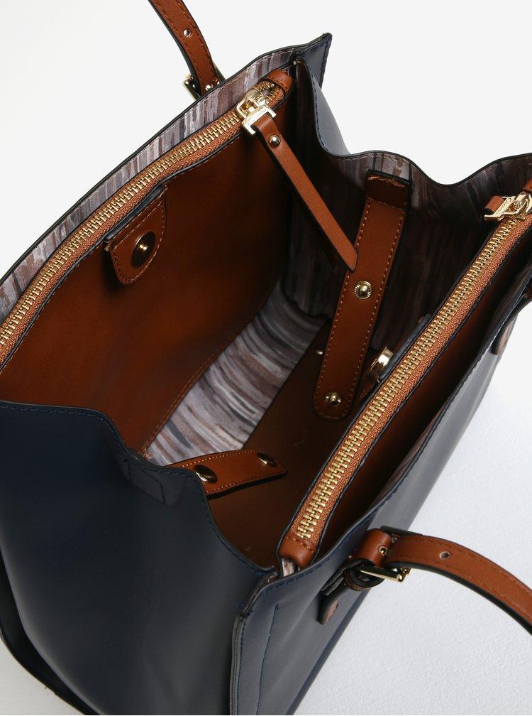 Hnědo-modrá koženková kabelka Gionni Alma