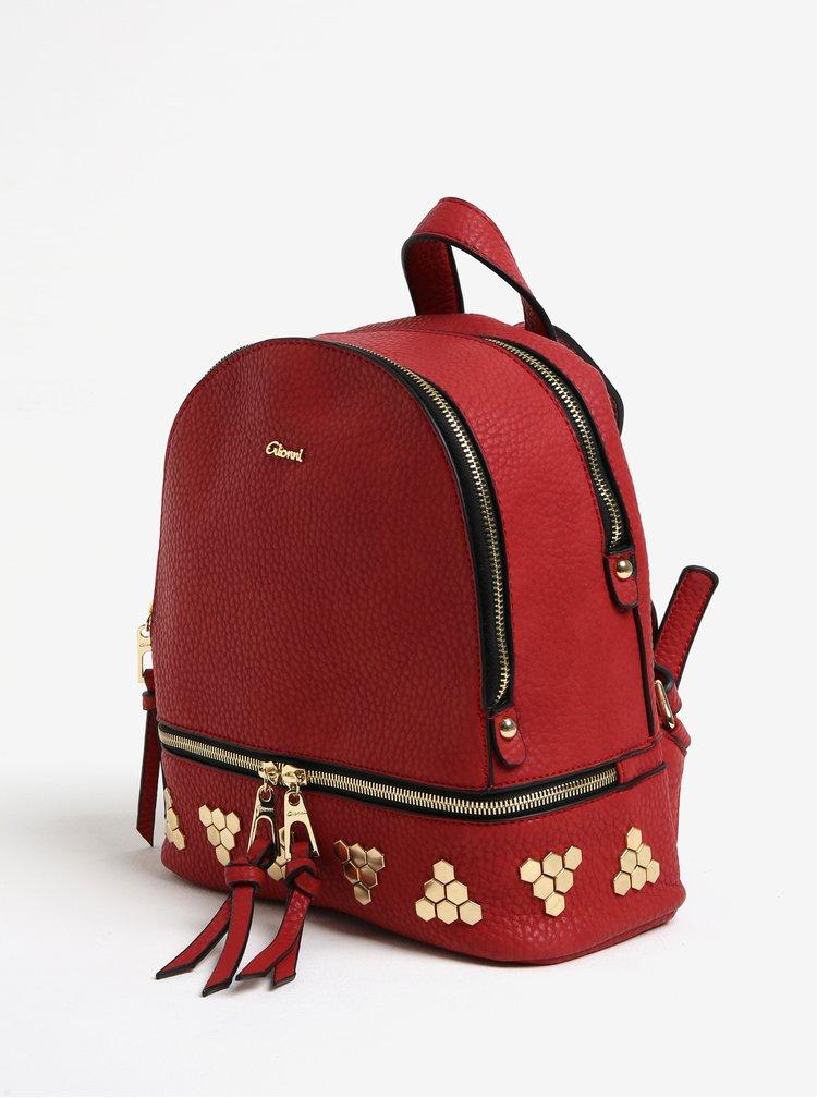 Červený batoh s detaily ve zlaté barvě Gionni Maya