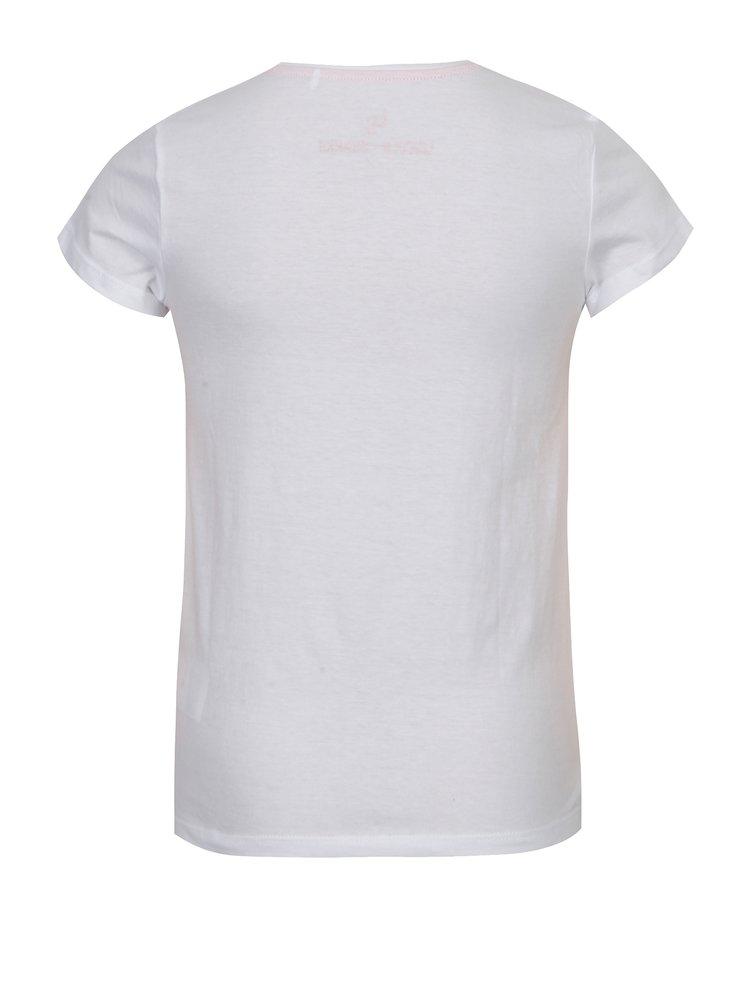 Červeno-bílé holčičí tričko s potiskem 5.10.15.