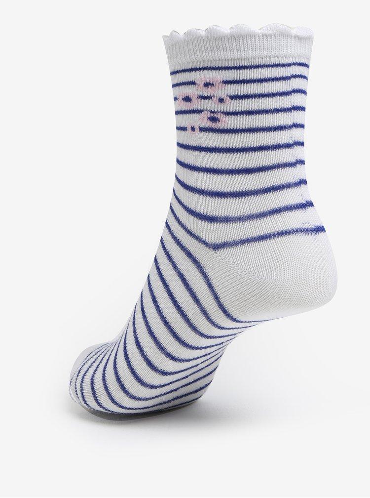 Sada tří párů holčičích vzorovaných ponožek v modré a bílé barvě 5.10.15.