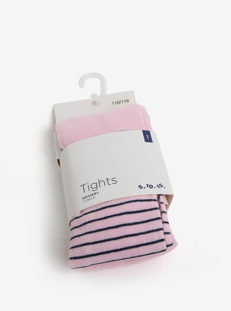 Světle růžové holčičí pruhované punčocháče 5.10.15.