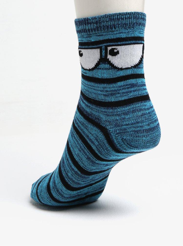 Sada tří párů klučičích žíhaných ponožek v šedé a modré barvě 5.10.15.
