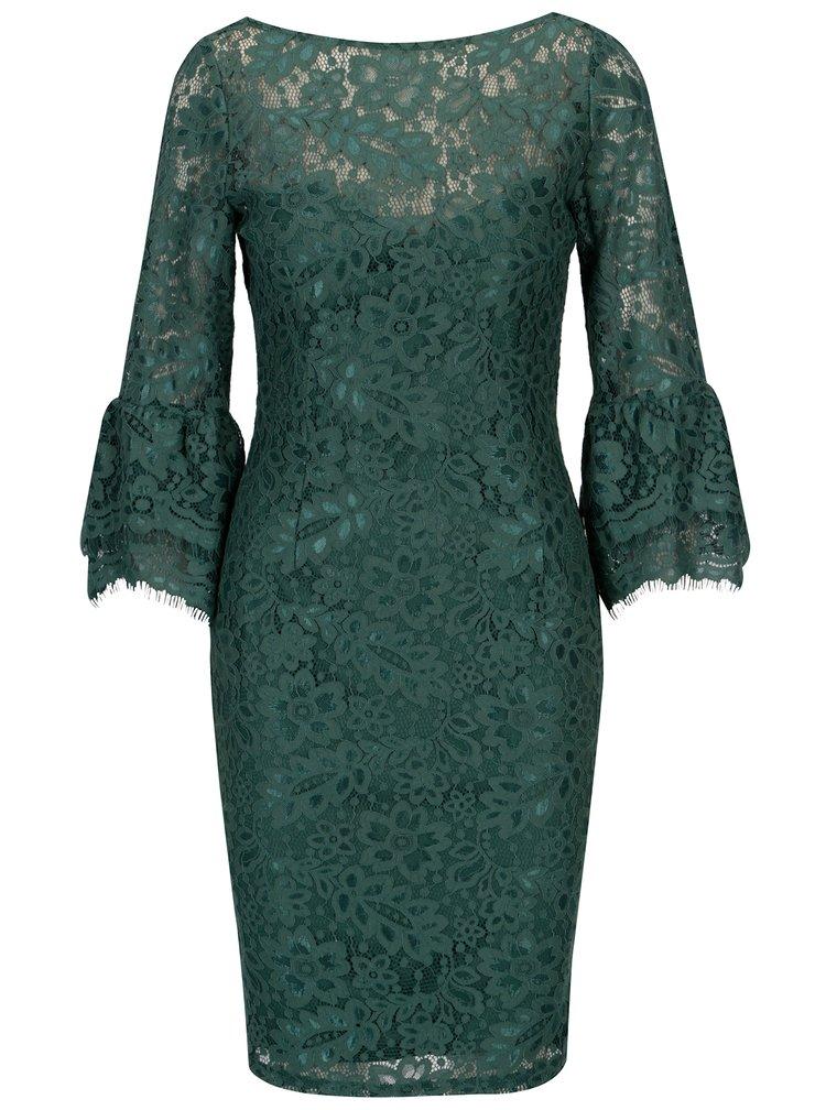 Zelené krajkové šaty s dlouhým rukávem Paper Dolls