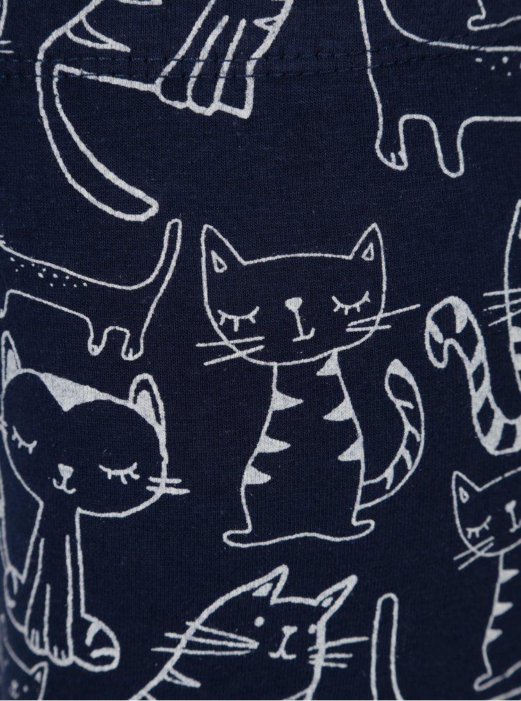 Tmavě modré legíny s potiskem koček 5.10.15.