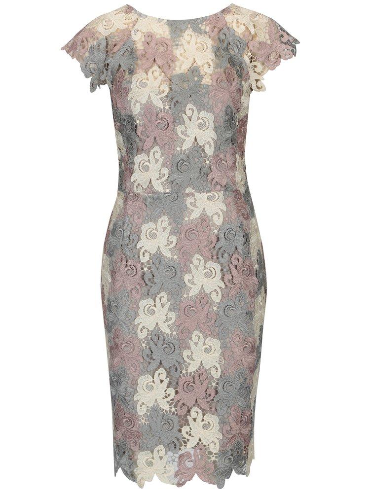 Krémové-šedé krajkové šaty s výstřihem na zádech Paper Dolls