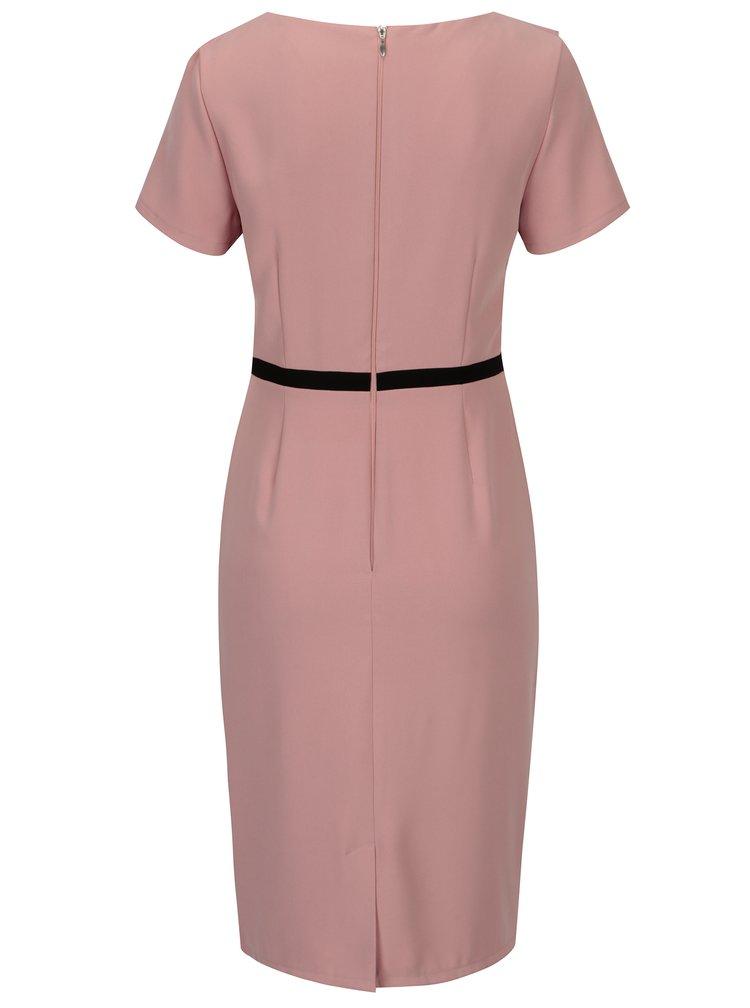 Růžové šaty s volánky ve výstřihu Paper Dolls