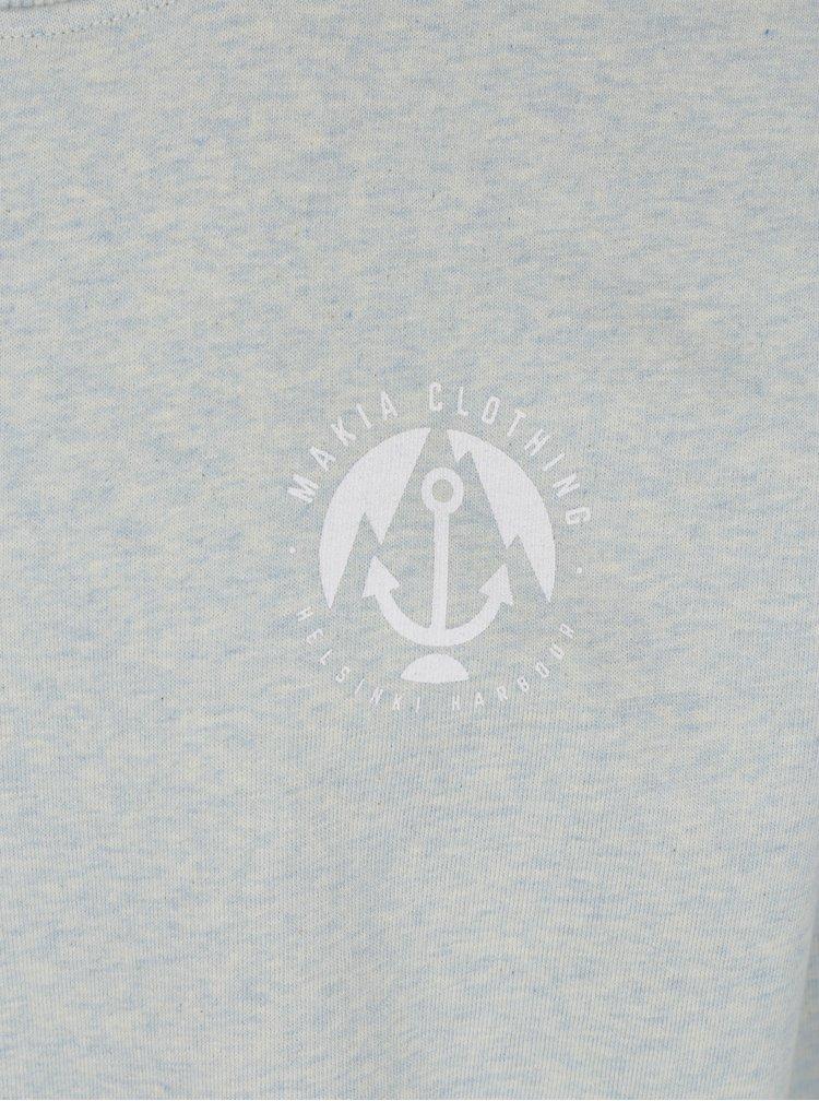 Světle modrá pánská žíhaná mikina s potiskem Makia Port
