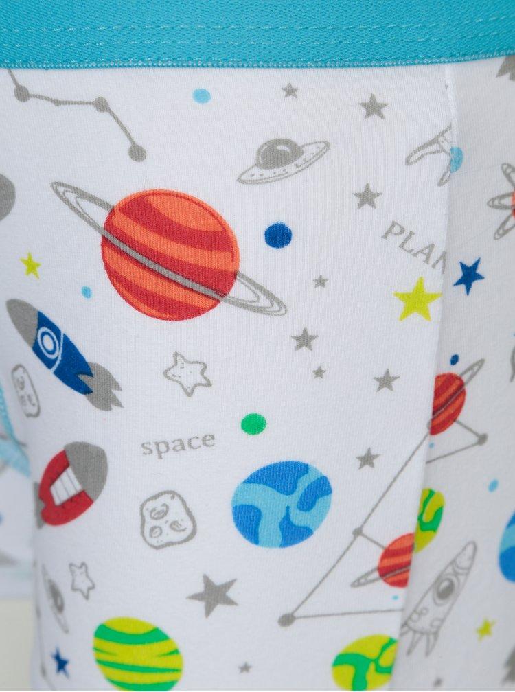 Sada tří modro-šedých klučičích boxerek s motivem vesmíru 5.10.15.