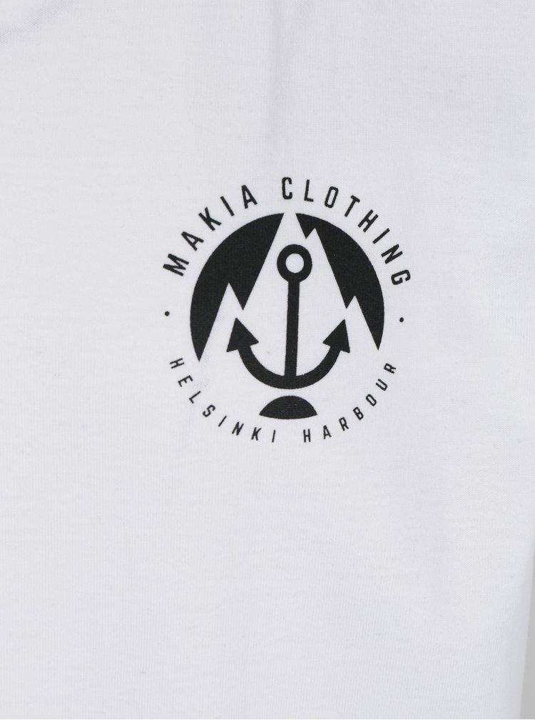 Biele pánske tričko s potlačou Makia Port