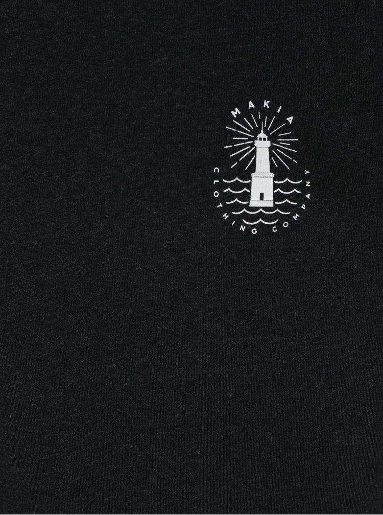 Čierne pánske melírované tričko s potlačou Makia Beam