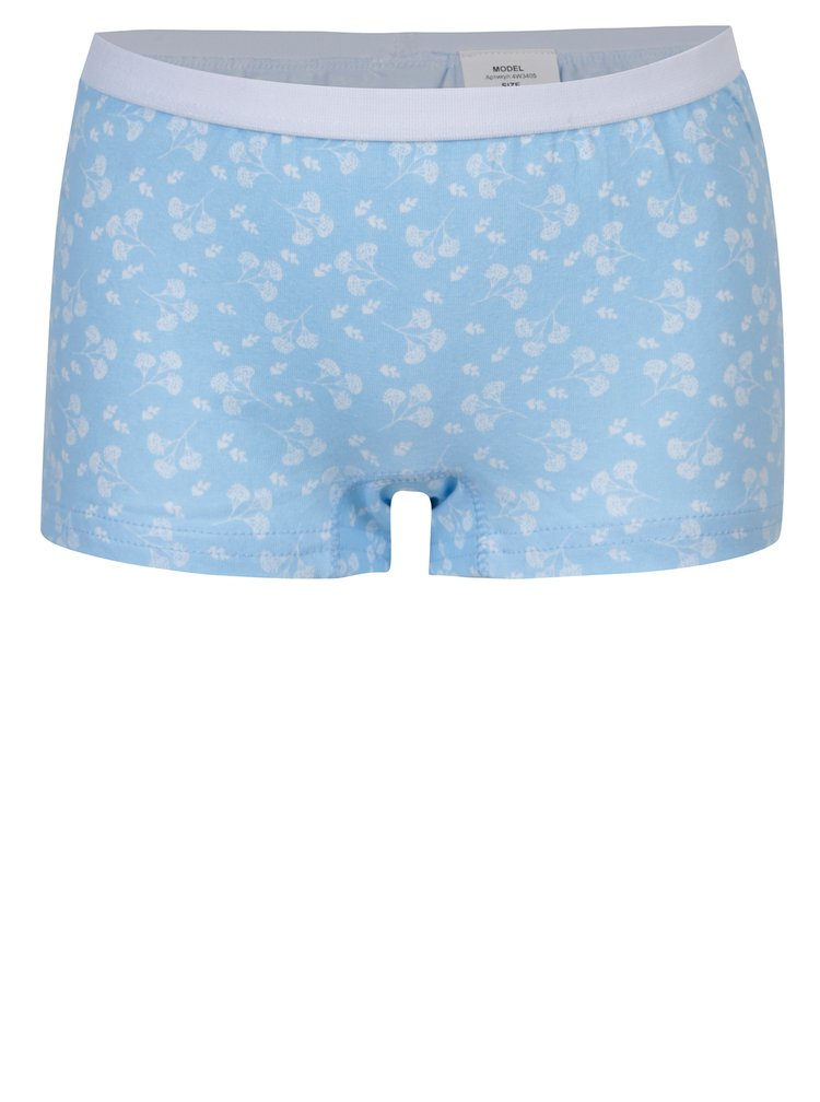 Sada tří holčičích vzorovaných kalhotek v modré a růžové barvě 5.10.15.