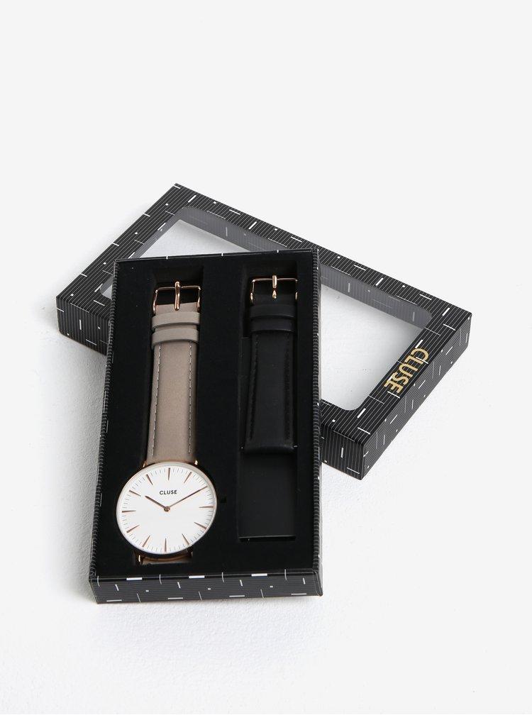 Dámské hodinky s vyměnitelnými koženými pásky v černé a šedé barvě CLUSE