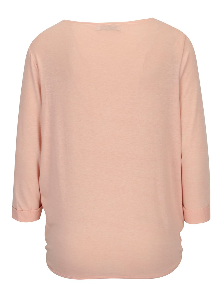 Bluza roz piersica cu pliuri si maneci 3/4 - Haily´s Mara