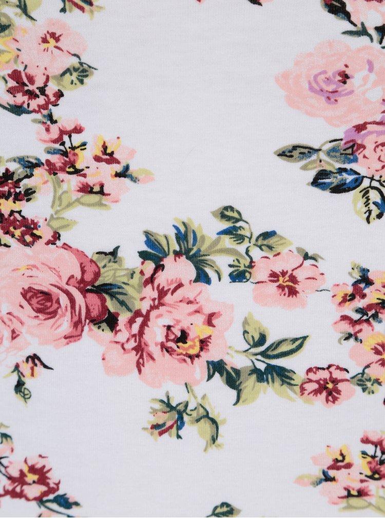 Bílé květované tričko s lodičkovým výstřihem Haily´s Estelle