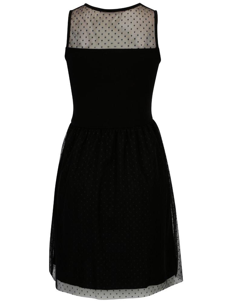 Černé šaty s průsvitným sedlem Haily´s Elsie