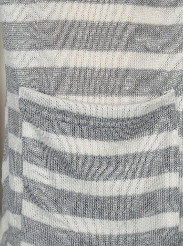 Krémovo-šedý pruhovaný lehký kardigan Haily´s Lisa
