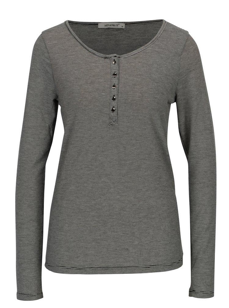 Krémovo-černé pruhované tričko s dlouhým rukávem Haily´s Greta