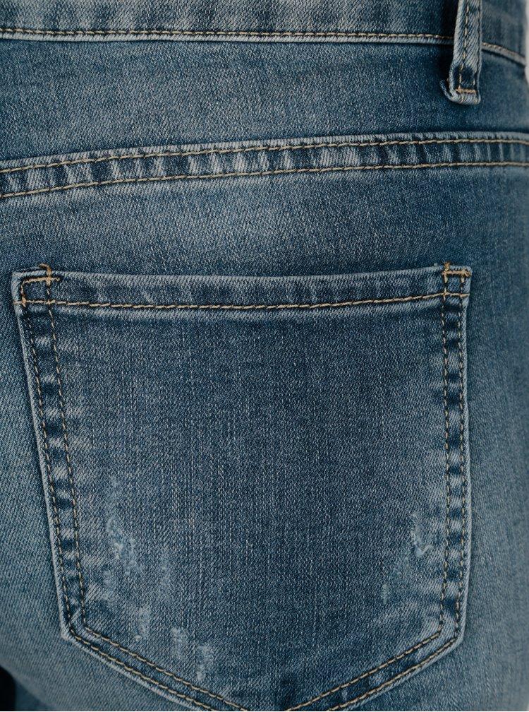 Blugi skinny fit albastri cu aspect uzat - Haily's Nana
