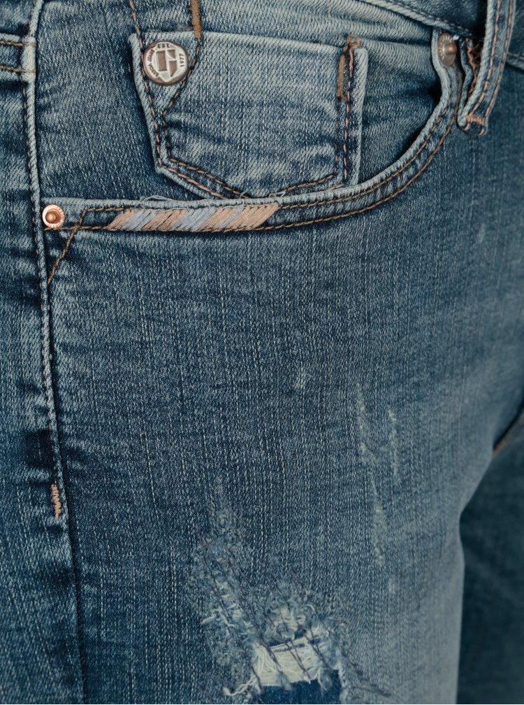Modré dámské slim fit džíny s potrhaným efektem Garcia Jeans