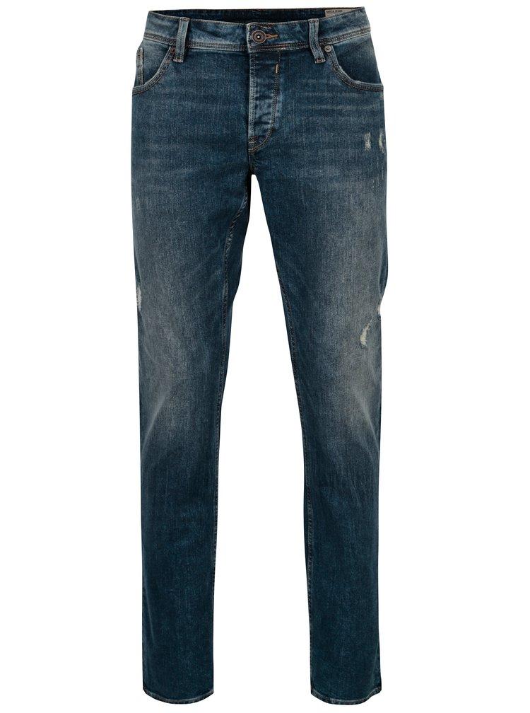 Blugi slim fit albastri cu aspect uzat pentru barbati - Garcia Jeans Savio